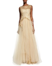 Marchesa Sleeveless Lace Bodice Tulle Skirt Gown