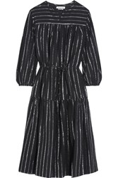 Etoile Isabel Marant Savory Metallic Trimmed Cotton Gauze Dress Black