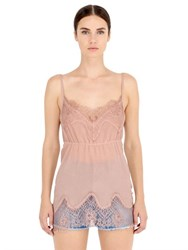Pink Memories Marbled Silk Crepe Top With Lace