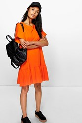 Boohoo Ruffle Hem T Shirt Dress Orange