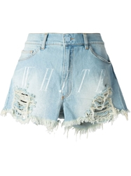 Off White Logo Print Distressed Denim Shorts