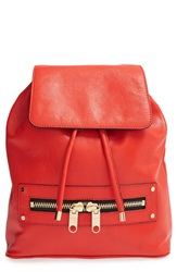 Milly 'Riley' Pebbled Leather Backpack Vermilion