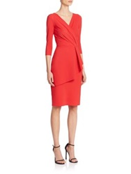 La Petite Robe Di Chiara Boni Three Quarter Sleeve V Neck Asymmetrical Peplum Dress Red