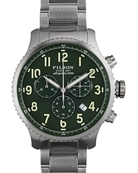 Filson The Mackinaw Field Chronograph Watch 43Mm Green Silver