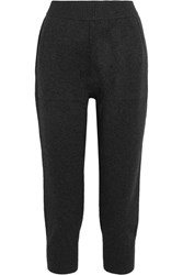 Michael Kors Collection Cropped Cashmere Blend Track Pants Charcoal
