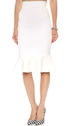Nicholas Crepe Flared Hem Skirt White