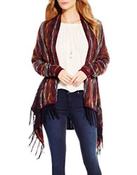 Jessica Simpson Fringed Open Front Cardigan Red