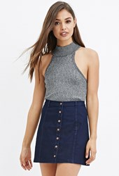 Forever 21 Button Down Denim Skirt Dark Denim