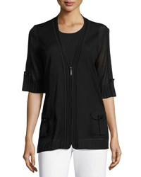 Misook Mesh Short Sleeve Zip Jacket Black