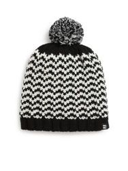 Block Headwear Knit Herringbone Pom Pom Beanie Black