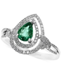 Effy Collection Brasilica By Effy Emerald 5 8 Ct. T.W. And Diamond 1 3 Ct. T.W. Ring In 14K White Gold