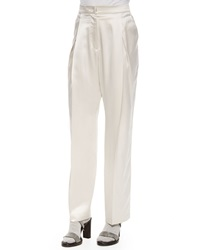 Satin Pleated Wide Leg Pants Brunello Cucinelli