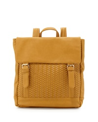 Neiman Marcus Woven Fold Over Backpack Mustard