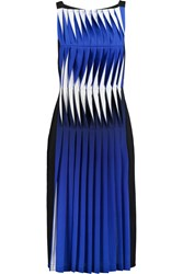 Dion Lee Lenticular Pleated Crepe Midi Dress Blue