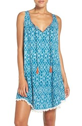 Lucky Brand Women's Print Cotton Chemise Teal Print