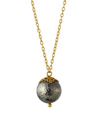 Gurhan 24K Gold And Blackened Silver Ball Pendant Necklace Women's