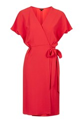 Topshop Belted Wrap Dress Bright Coral
