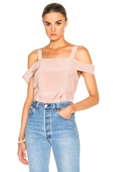 Tibi Cut Out Sleeve Top In Blue