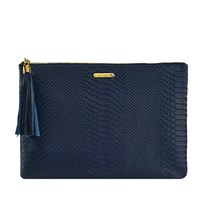 Graphic Image Uber Clutch In Embossed Python Leather Navy Plain