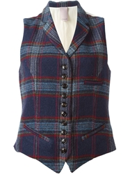 People Plaid Waistcoat Blue