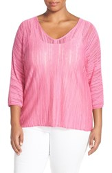 Plus Size Women's Nic Zoe 'Macaron' V Neck Knit Top