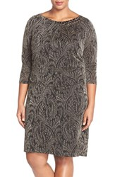 Plus Size Women's Tahari Embellished Metallic Paisley Sheath Dress