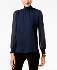 Ny Collection Metallic Detail Turtleneck Blouse Navy