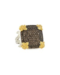 Jude Frances Large Cushion Fleur Smoky Topaz Pave Ring Size 6.5