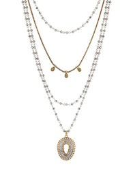 Lucky Brand Semi Precious Rock Crystal Two Tone Layered Necklace