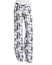 Alexis Beau Blossom Wide Leg Pants Navy White Women's Size Large Navy Blossom