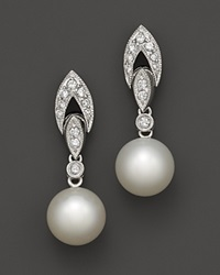 Bloomingdale's Cultured Freshwater Akoya Pearl And Diamond Antique Style Drop Earrings .26 Ct. T.W. White Gold