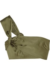3.1 Phillip Lim One Shoulder Cropped Satin Top Army Green