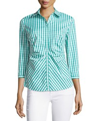 Lafayette 148 New York Leigh 3 4 Sleeve Pleated Gingham Blouse Aquarium