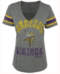 G3 Sports Women's Minnesota Vikings Any Sunday Rhinestone T Shirt Gray