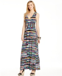 Spense Petite Ruched Multicolor Maxi Dress Playful Stripes