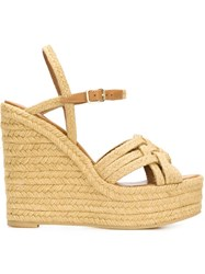 Saint Laurent Braided Wedge Sandals Nude And Neutrals