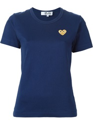 Comme Des Garcons Play Embroidered Heart T Shirt Blue