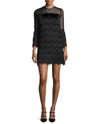 Alexis Xiomarra Long Sleeve Tiered Fringe Shift Dress Black
