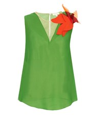 Delpozo Floral Brooch Silk Georgette Top Green