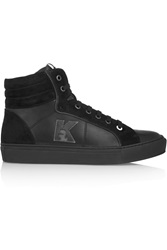 Karl Lagerfeld Leather And Suede High Top Sneakers