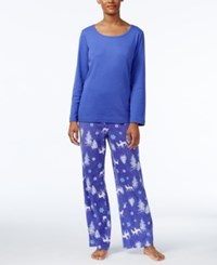 Charter Club Fleece Scoop Neck Top And Printed Pants Pajama Set Only At Macy's Blue Winter Forrest