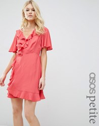 Asos Petite Mini Woven Tea Dress With Wrap Front Coral Pink