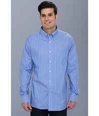 Nautica Wrinkle Resistant Anchor Stripe Button Down Shirt French Blue Men's Long Sleeve Button Up