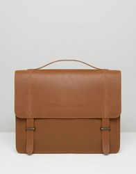Asos Leather Satchel In Tan With Metal Keepers Tan