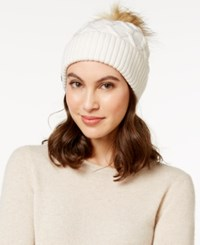 Steve Madden Faux Fur Cable Knit Cuff Hat Ivory