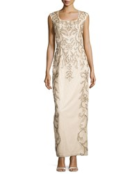 Sue Wong Draped Back Beaded Long Column Gown Champagne