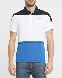 Lacoste White Technical Sport Fabric Side Chest Logo Polo Shirt With Black And Blue Stripes
