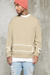 Forever 21 Boxy Square Print Sweatshirt Taupe Cream