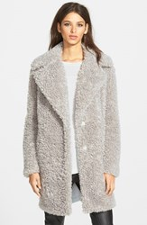 Kensie Women's 'Teddy Bear' Notch Collar Faux Fur Coat Grey