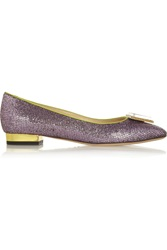 Charlotte Olympia Starlet Glitter Finished Leather Slippers Purple